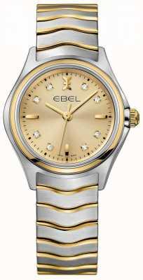 EBEL Diamante champagne da donna con quadrante bicolore giallo oro e argento 1216317