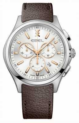 EBEL Cinturino in pelle marrone con datario cronografo a onda da uomo 1216341