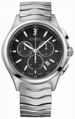 EBEL Cronografo da uomo quadrante nero cassa in acciaio inossidabile argentato 1216342