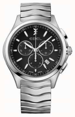 EBEL Cronografo da uomo quadrante nero cassa in acciaio inossidabile argento 1216342
