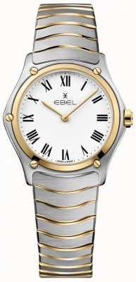 EBEL Classico sportivo da donna, quadrante bianco, cinturino bicolore, acciaio inossidabile 1216387