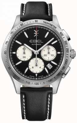 EBEL Cronografo automatico a onde da uomo con quadrante nero in pelle nera 1216404