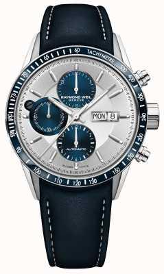 Raymond Weil Cinturino automatico da uomo cronografo automatico in pelle blu 7731-SC3-65521