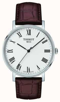 Tissot Quadrante bianco con cinturino in pelle marrone medio in qualsiasi momento T1094101603300