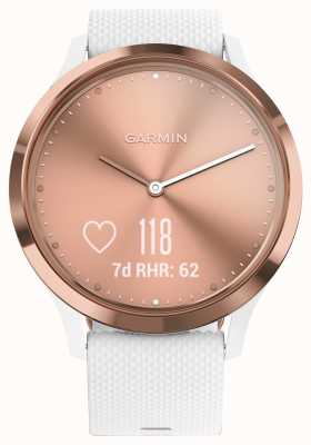 Garmin Vivomove hr activity tracker quadrante in oro rosa con cinturino in gomma bianca 010-01850-02