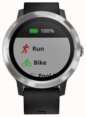 Garmin Vivoactive 3 hr multisport tracker in gomma nera con ghiera argentata 010-01769-00