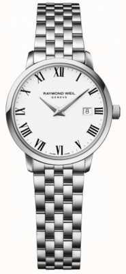 Raymond Weil Quadrante bianco con bracciale in acciaio inossidabile toccata da donna 5988-ST-00300