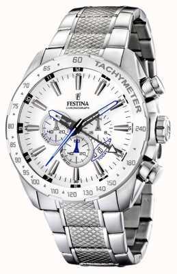 Festina Bracciale cronografo in acciaio inossidabile con quadrante bianco F16488/1