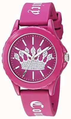 Juicy Couture Orologio da donna con cinturino in silicone rosa quadrante con corona rosa JC-1001HPHP