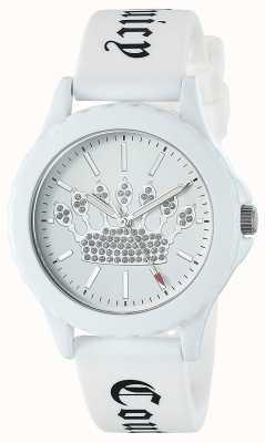 Juicy Couture Orologio da donna con cinturino in silicone bianco quadrante bianco con corona JC-1001WTWT