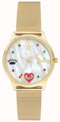 Juicy Couture Orologio da donna con cinturino in maglia oro con indici colorati JC-102WTGB