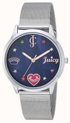 Juicy Couture Bracciale da donna in maglia d'argento | marcatori colorati | quadrante blu JC-1025BMSV