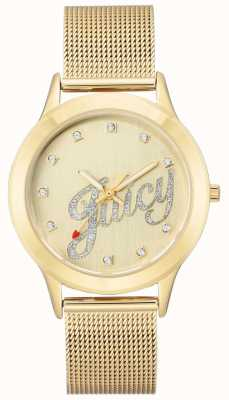 Juicy Couture Orologio da donna con cinturino in maglia color oro avorio JC-1032CHGB