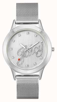 Juicy Couture Orologio da donna con cinturino in maglia color argento con scritta sugosa JC-1033SVSV