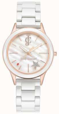 Juicy Couture Bracciale donna bianco quadrante bianco cassa in oro rosa JC-1048WTRG