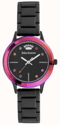Juicy Couture Quadrante nero per donna con quadrante nero e lunetta colorata JC-1051MTBK