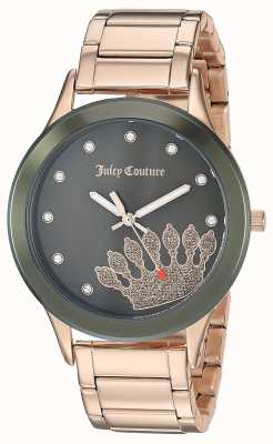 Juicy Couture Acciaio inossidabile oro rosa da donna | quadrante nero corona JC-1052OLRG