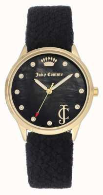 Juicy Couture Quadrante nero da donna | cinturino in velluto nero | cassa d'oro JC-1060BKBK