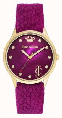 Juicy Couture Quadrante delle donne bordeaux | cinturino in velluto bordeaux | cassa color oro JC-1060HPHP
