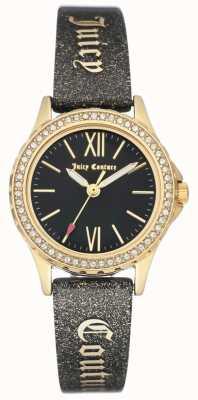 Juicy Couture Cinturino in oro con cinturino nero per donna JC-1068BKBK