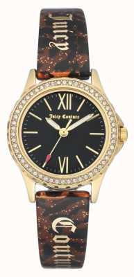 Juicy Couture Cassa in oro delle donne | cinturino marrone | custodia nera JC-1068BKBN