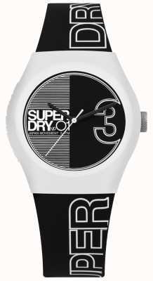 Superdry Quadrante e cinturino con stampa urbana in bianco e nero SYL239BW