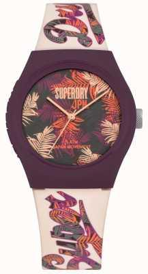 Superdry Cinturino in quadrante bianco con stampa floreale tropicale viola e rosa SYL247PV