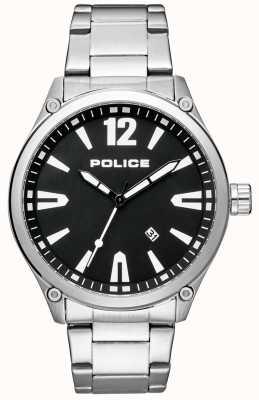 Police Quadrante nero con cinturino in acciaio inossidabile stile smart da uomo 15244JBS/02M