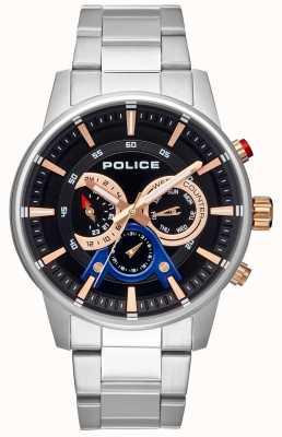Police Quadrante nero con cinturino in acciaio inossidabile stile smart da uomo PL.15523JS/02M