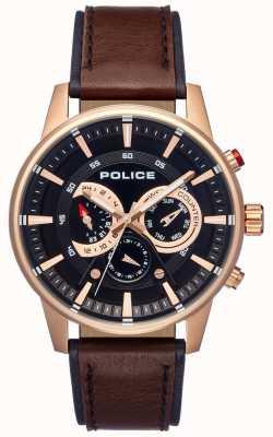 Police Quadrante nero con cinturino in pelle marrone stile uomo elegante PL.15523JSR/02