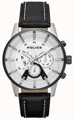 Police Quadrante argentato da uomo in elegante stile nero con cinturino in pelle PL.15523JSTB/04