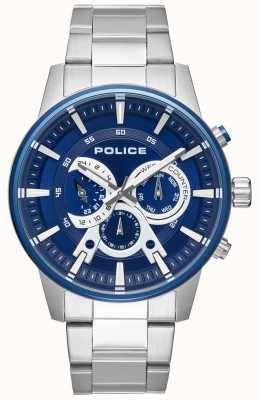 Police Quadrante blu con cinturino in acciaio inossidabile PL.15523JSTBL/03M