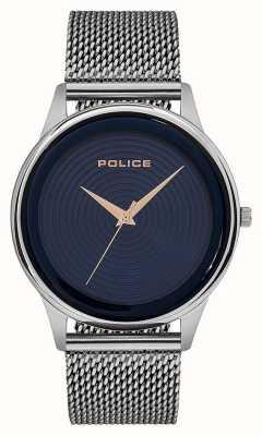 Police Quadrante blu con cinturino in maglia di acciaio inossidabile PL.15524JS/03MM