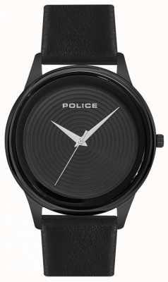 Police Quadrante nero con cinturino in pelle nera da uomo elegante PL.15524JSB/02
