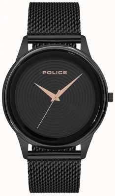 Police Bracciale da uomo in maglia nera stile elegante quadrante nero PL.15524JSB/02MM