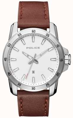 Police Quadrante argentato da uomo in pelle marrone stile smart PL.15526JS/04