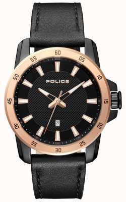 Police Quadrante nero con cinturino in pelle nera elegante da uomo PL.15526JSBR/02