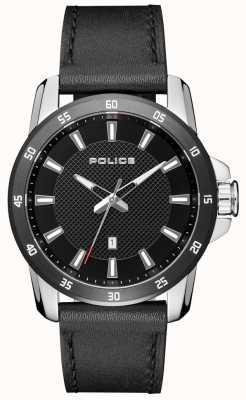 Police Quadrante nero con cinturino in pelle nera elegante da uomo PL.15526JSTB/02