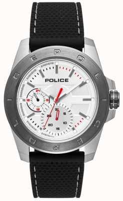 Police Quadrante argentato in silicone nero stile urbano PL.15527JSTU/04P