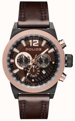 Police Quadrante marrone con cinturino in pelle marrone stile urbano PL.15529JSBBN/12