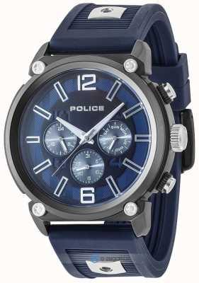Police Quadrante blu con cinturino in silicone a 2 toni in stile ribelle da uomo PL.15049JSU/03P