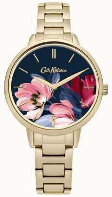Cath Kidston Quadrante con quadrante floreale stampato a forma di bracciale dorato CKL050GM
