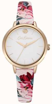 Cath Kidston Quadrante bianco con cinturino stampato floreale rosa donna CKL064PRG