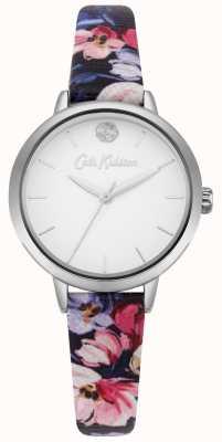 Cath Kidston Quadrante bianco con cinturino stampato floreale blu marino CKL064U