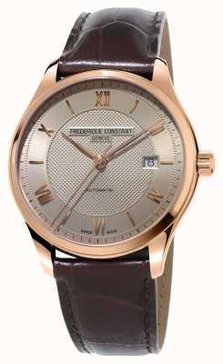 Frederique Constant Classici classici da uomo in pelle marrone placcata oro FC-303MLG5B4