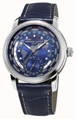 Frederique Constant Cinturino blu da uomo con cinturino blu per orologi worldtimer FC-718NWM4H6