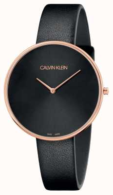 Calvin Klein Cinturino in pelle nera da donna in oro rosa con luna piena K8Y236C1