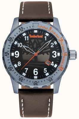 Timberland Quadrante nero con cinturino in pelle marrone scuro uomo clarksburg TBL.15473JLU/02
