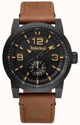 Timberland Cassa e quadrante nero con cinturino in pelle color cammello duxbury TBL.15475JSB/02