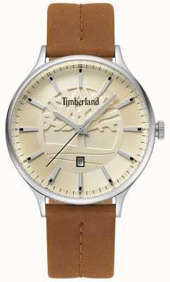 Timberland Quadrante beige con cinturino in pelle marrone chiaro marrone TBL.15488JS/07